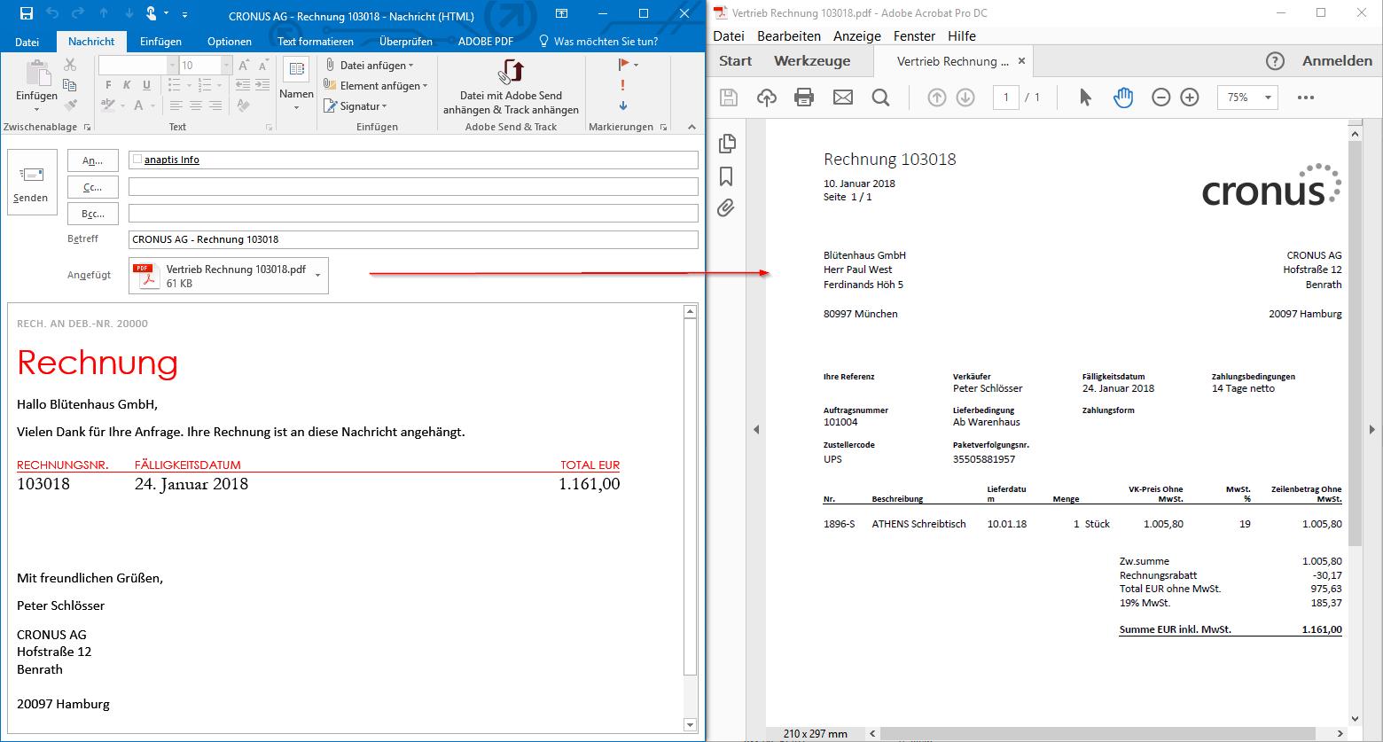 Gebuchte Verkaufsrechnung als E-Mail-Anhang und E-Mail-Text versenden