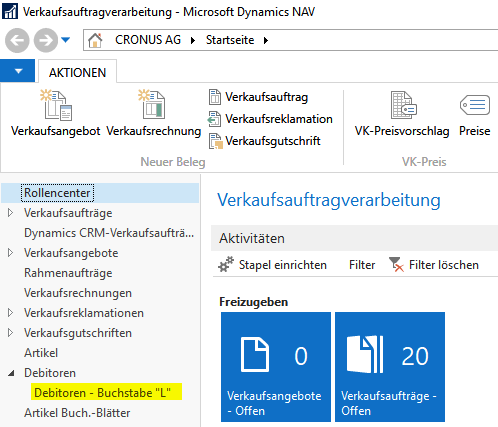 Aufruf gespeicherter Filterausdrücke in NAV 201