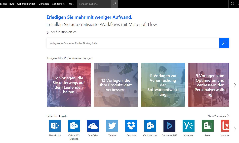 Oberfläche des Microsoft Flow