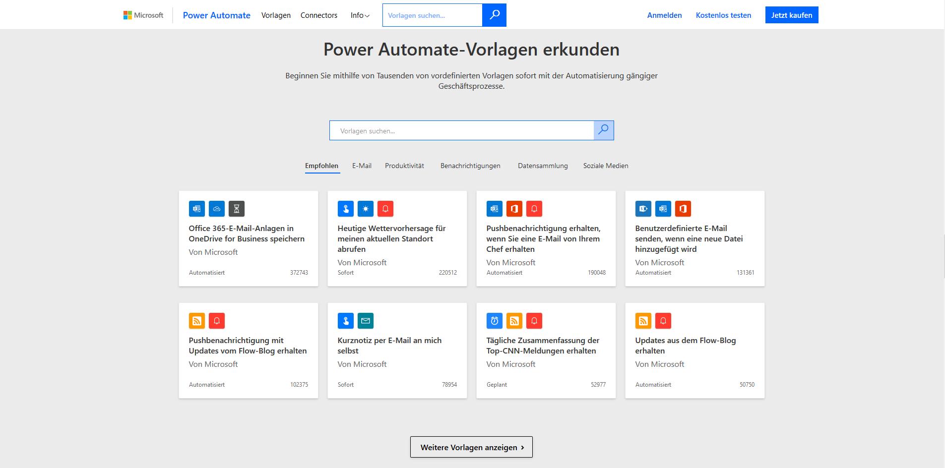 Microsoft Power Automate - Vorlagen