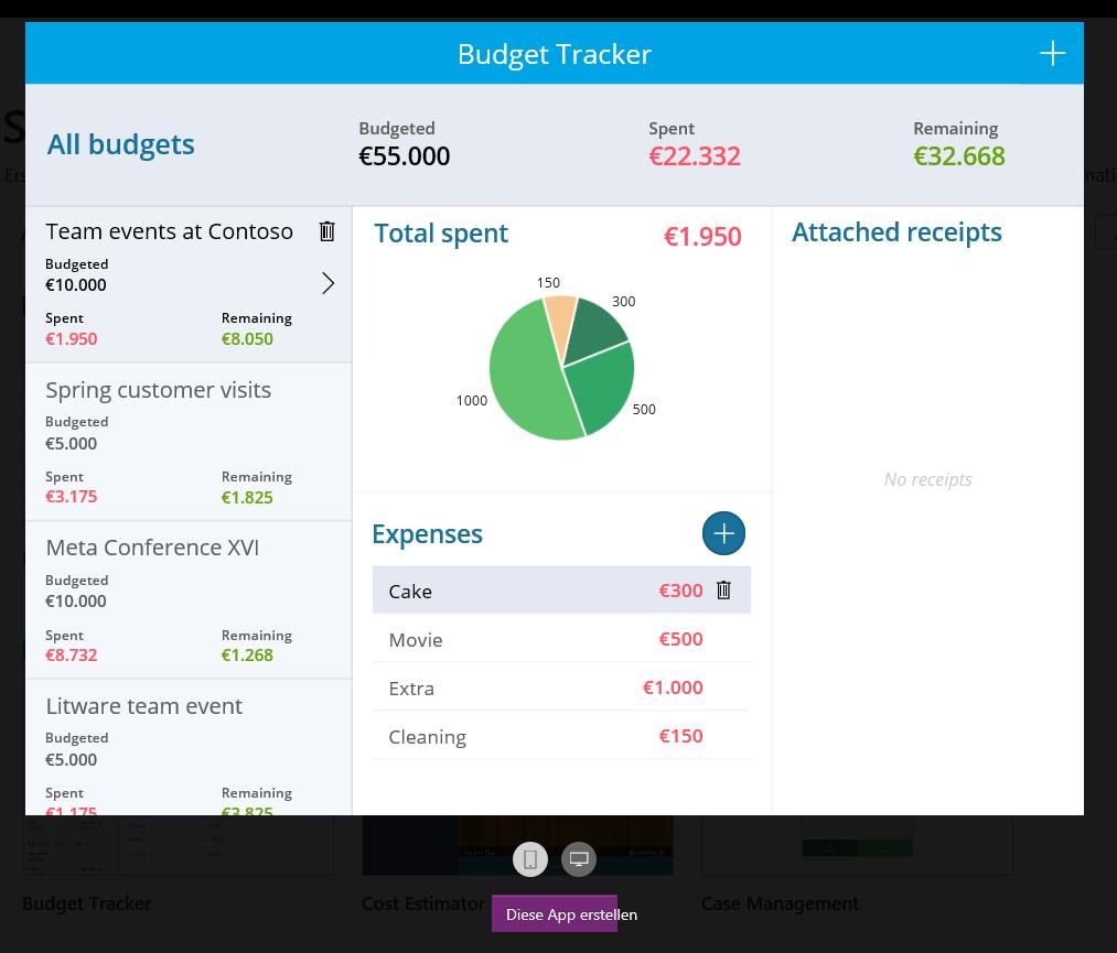 Vorschau des Budget Trackers