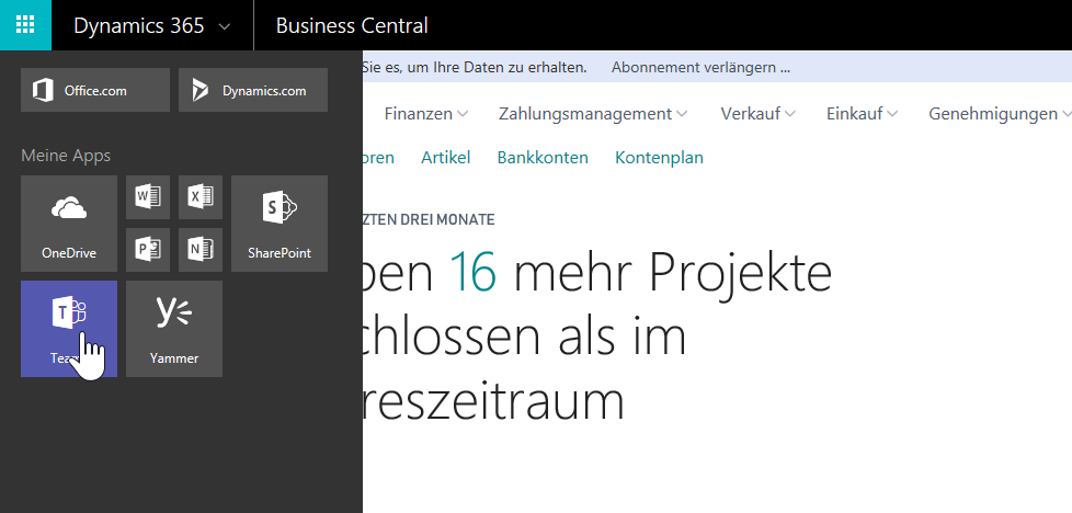 Dynamics 365 Business Central - Apps aufrufen