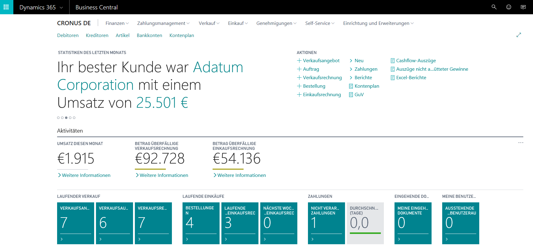 Abbildung 1: Dynamics 365 Business Central Dashboard
