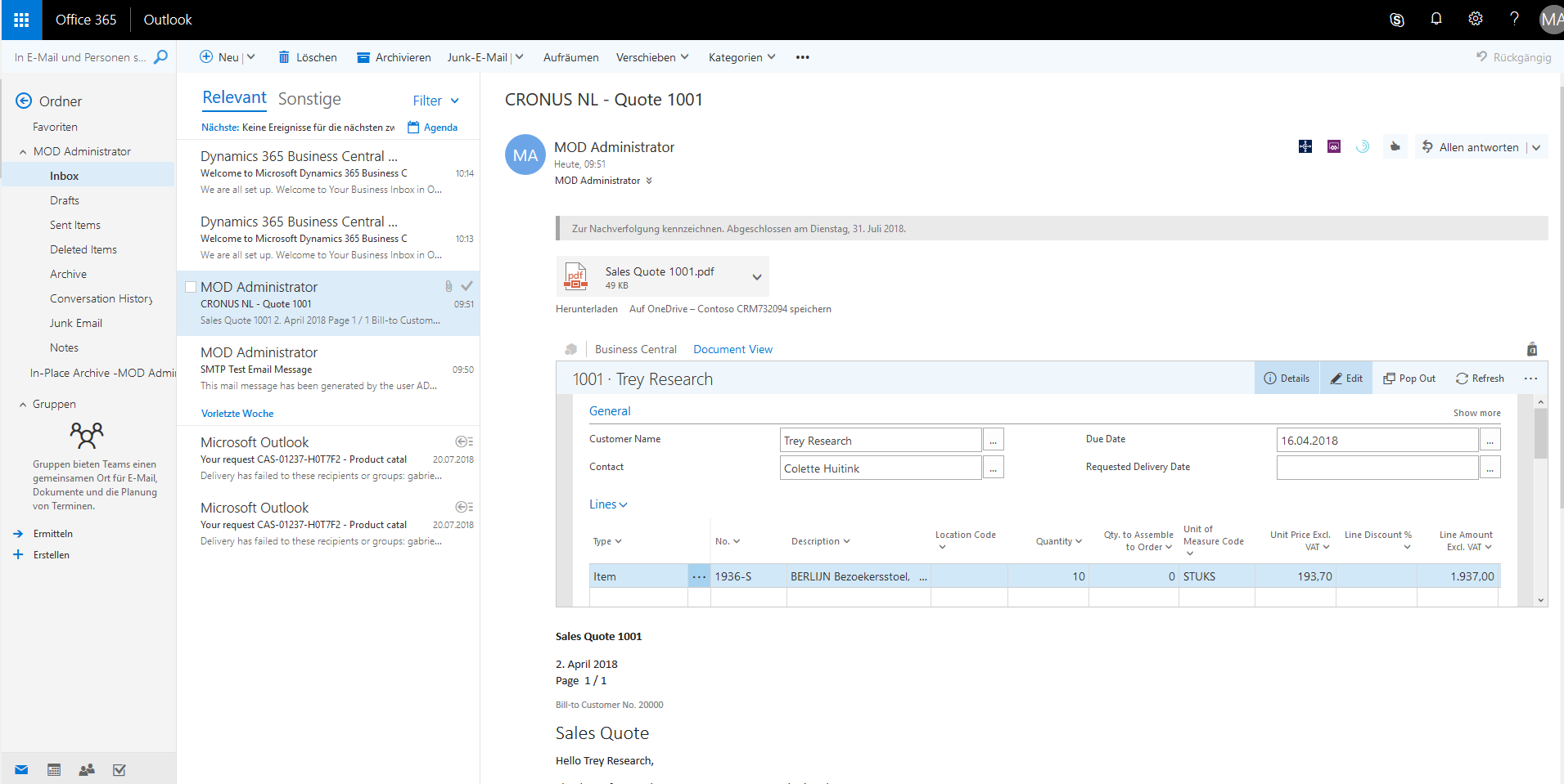 Dynamics 365 Business Central - Outlook Integration