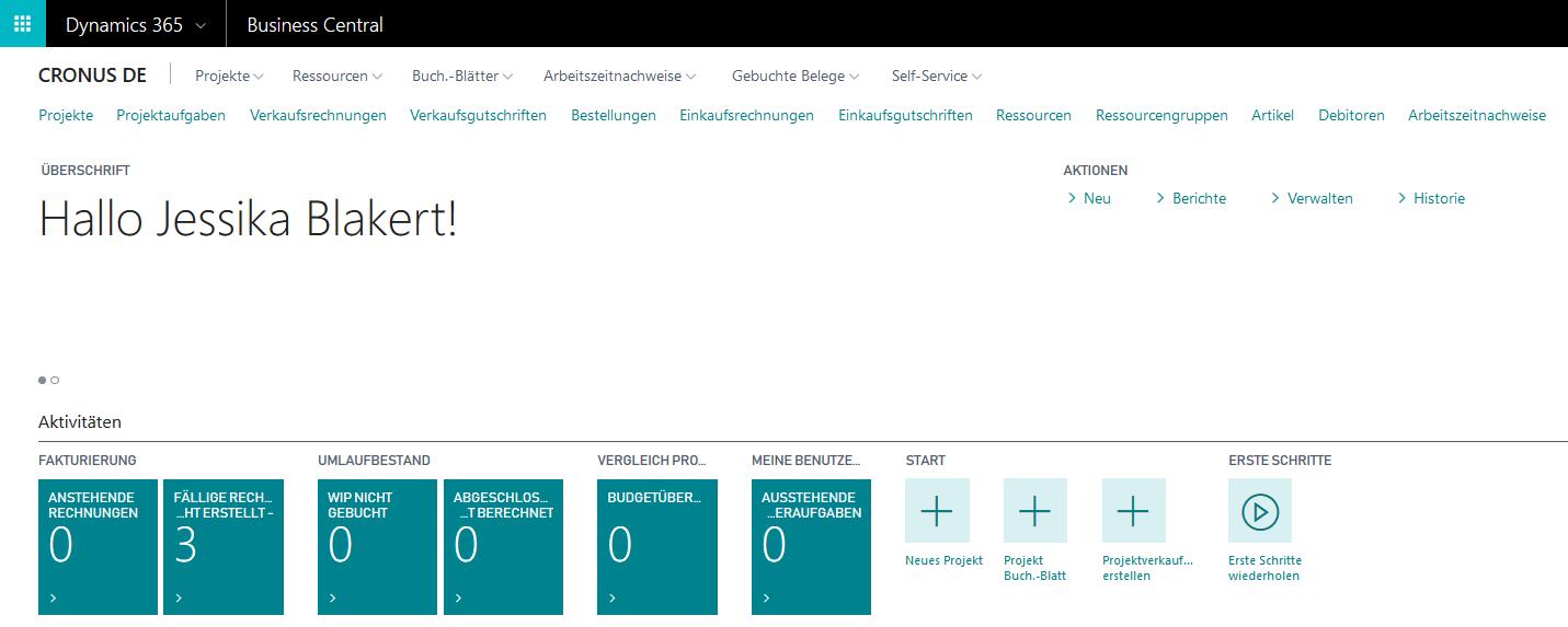 Dynamics 365 Business Central: Neues Projekt erstellen
