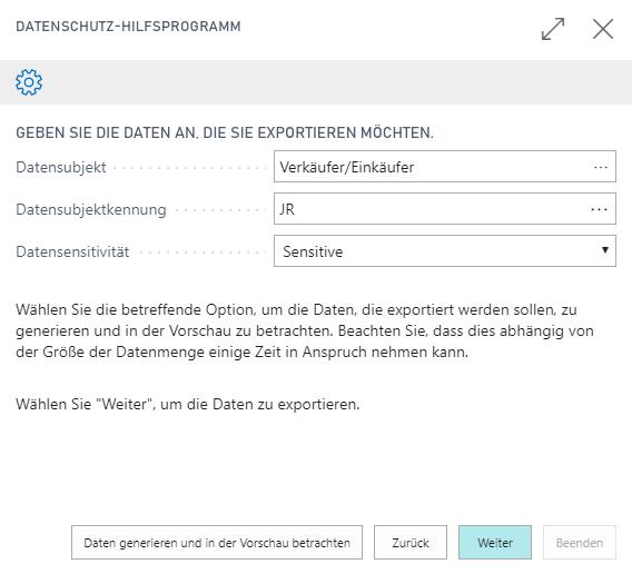 Wahl der zu exportierenden Daten