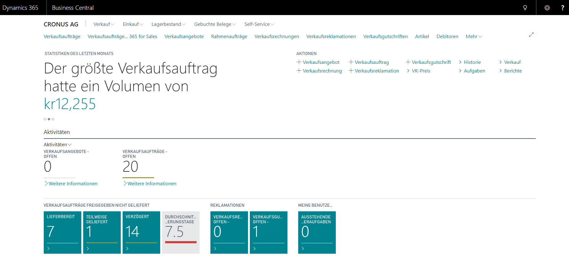 Dynamics 365 Business Central - Rollencenter