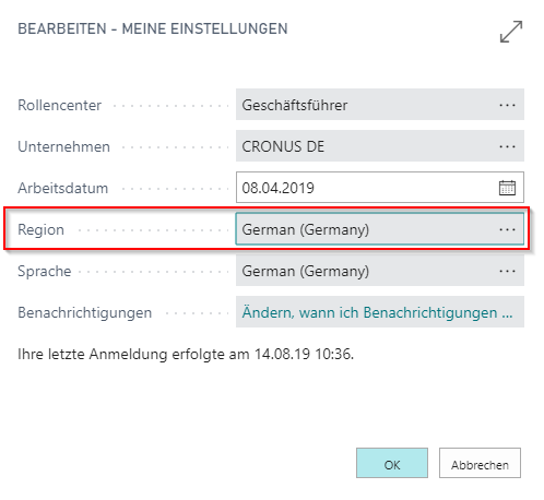 Dynamics 365 Business Central - Systemeinstellungen Region