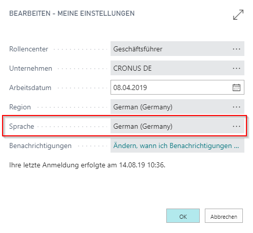 Dynamics 365 Business Central - Systemeinstellungen Sprache