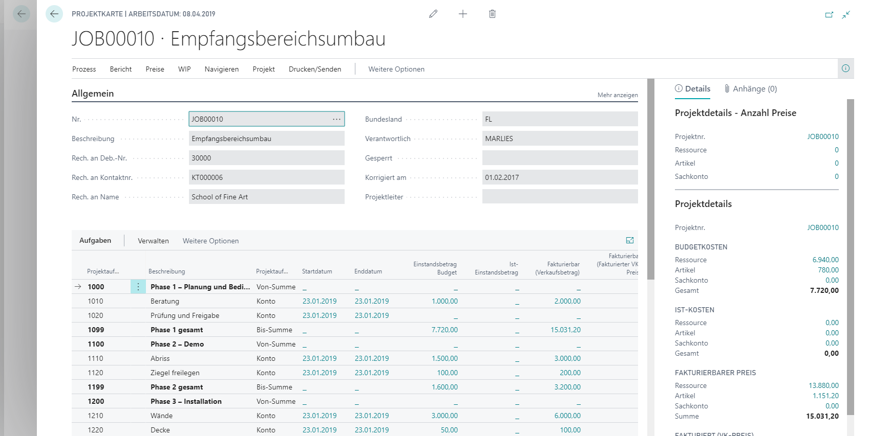 Dynamics 365 Business Central Projekte
