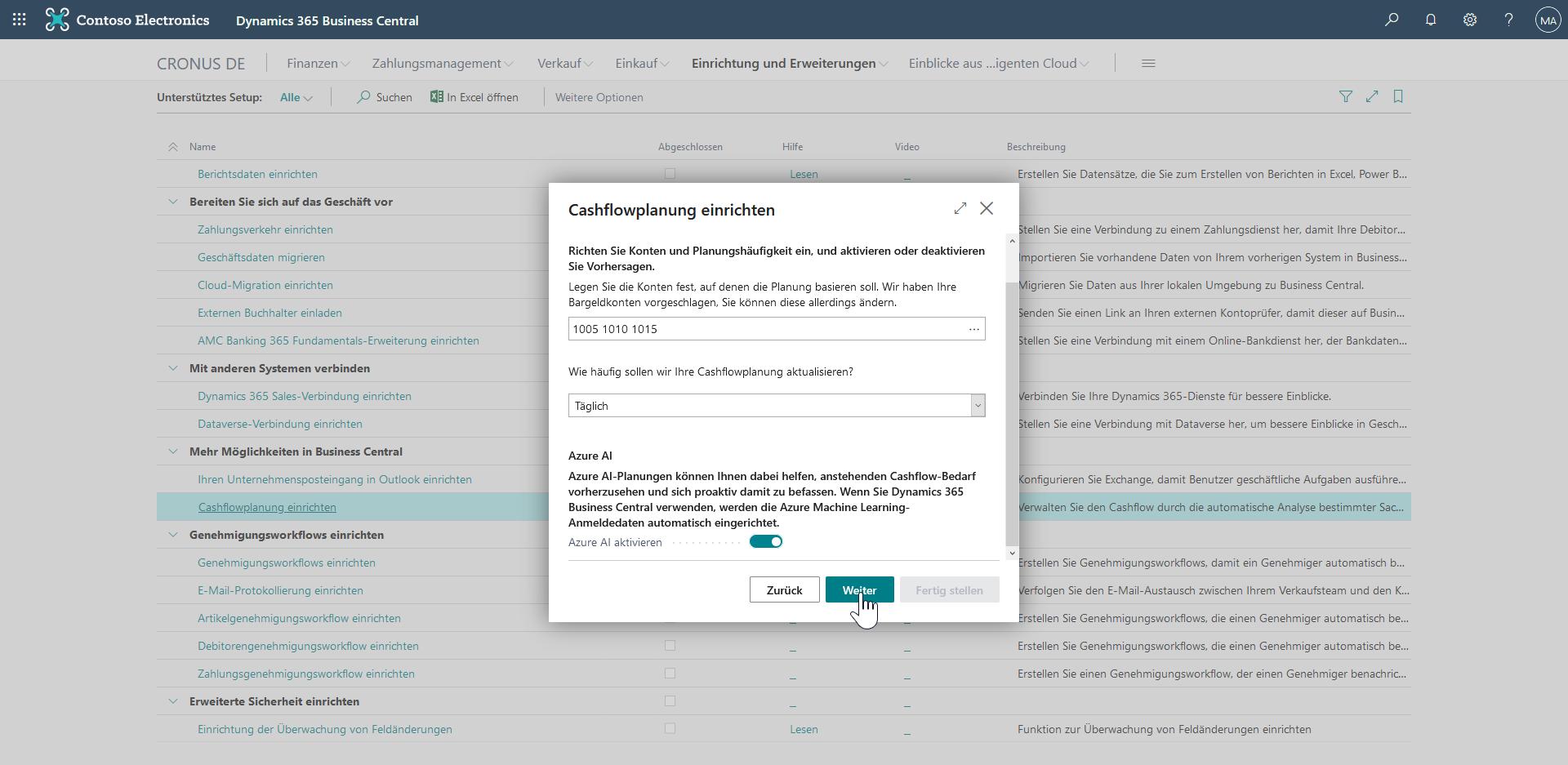 Cashflowplanung in Dynamics 365 Business Central - Setup