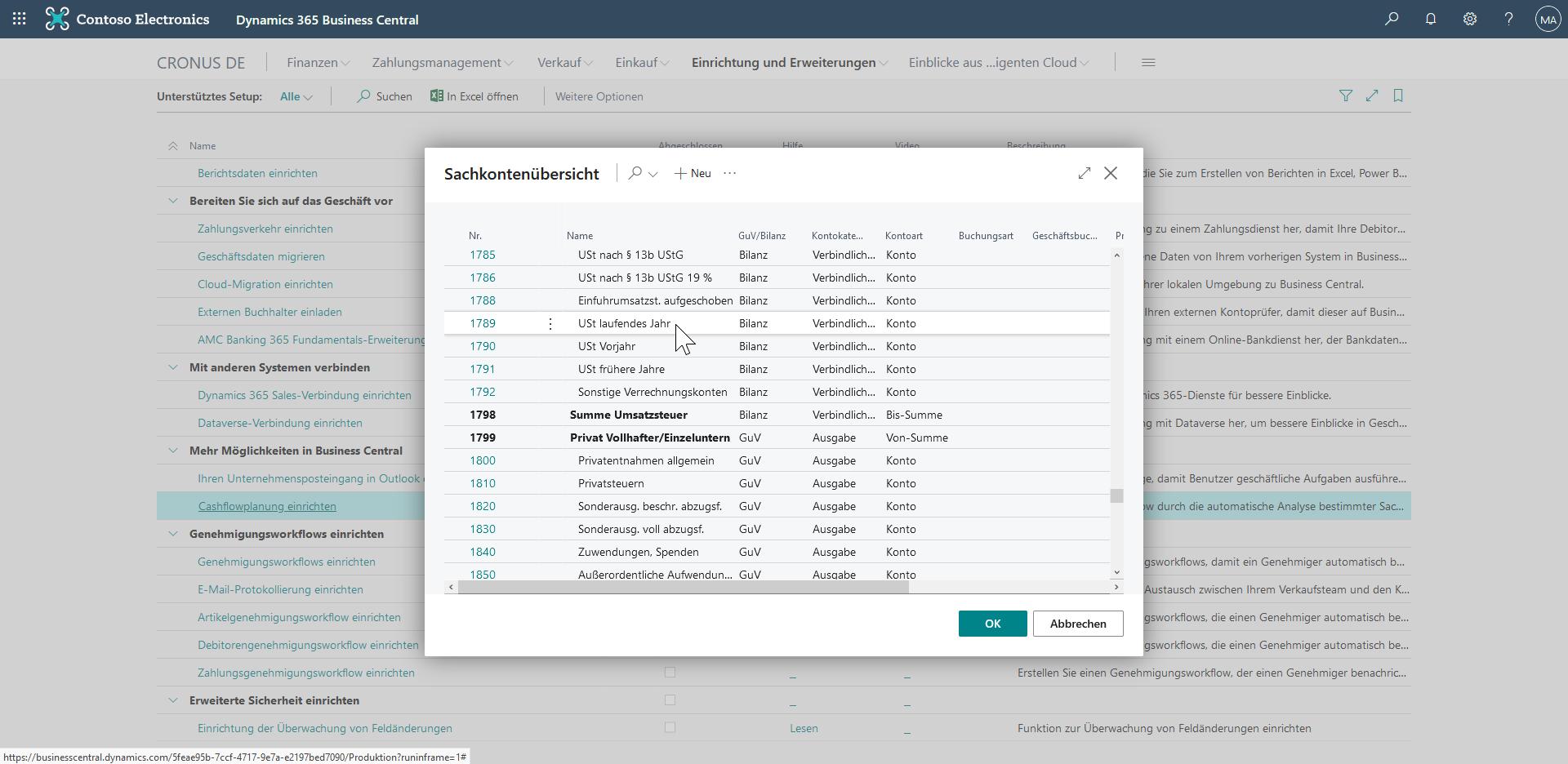 Cashflowplanung in Dynamics 365 Business Central - Unterstütztes Setup - Kontoauswahl