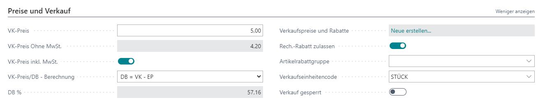 Dynamics 365 Business Central Verkaufsartikel Verkaufspreis
