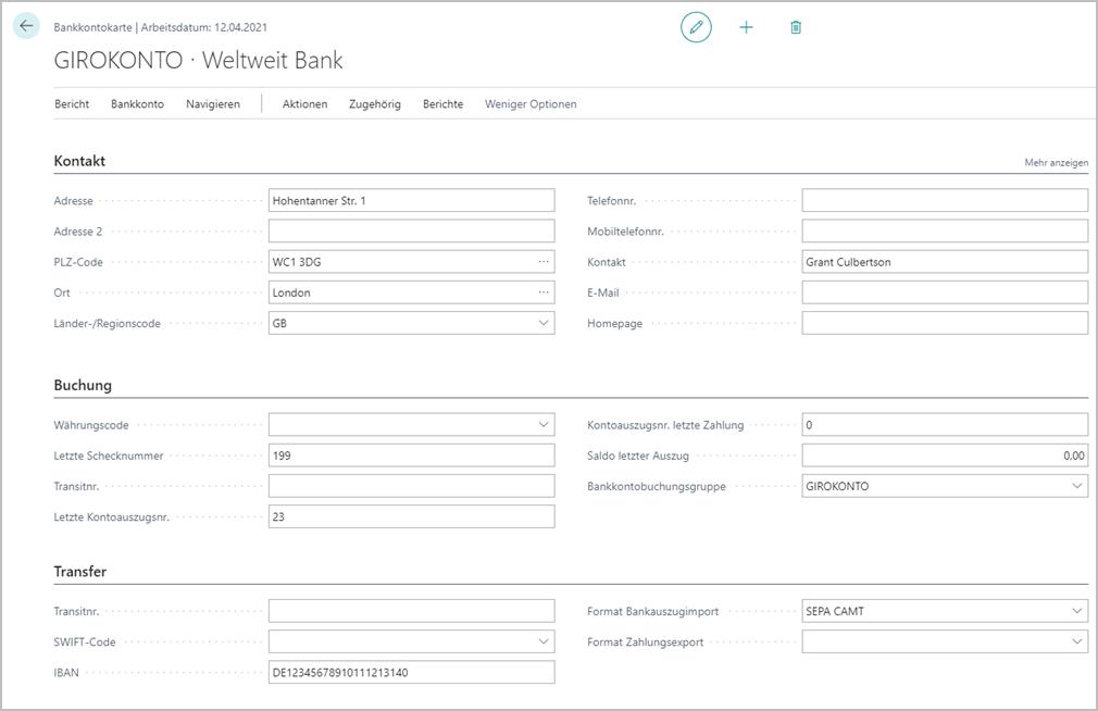 Eingabe von Transferdaten für ein Bankkonto